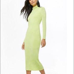 Neon green back cutout midi dress
